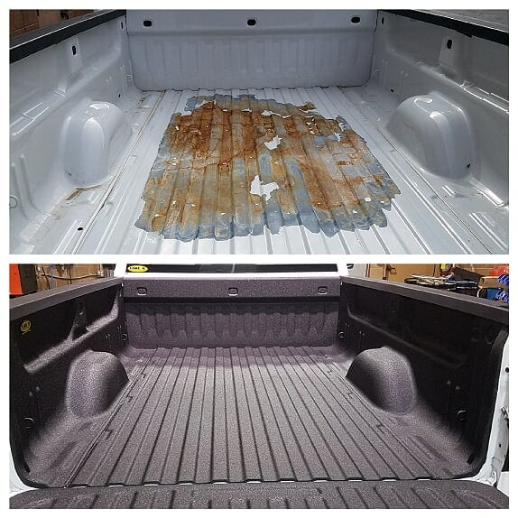 LINE-X Spray on bed liner before and after